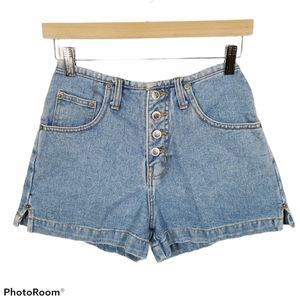 Vintage Route 66 Denim Shorts High Rise Button Fly